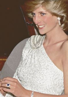 "tributetodiana: "" Diana attends a gala dinner at the National Gallery in Washington, 1985. "" Stunning."