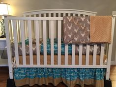 TRIBAL ARROWS & STAG buck deer head sillouett gray, blue, tan 6 pc crib bedding Set with Minky Dots and Free Monograms carseat cover