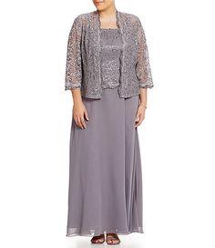 Ignite Evenings Plus Beaded Lace Jacket Dress