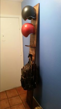 """The """"Gambrill"""" Hallway Valet: motorcycle helmet, bag, key storage"""