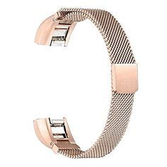 bayite Milanese Loop Stainless Steel Metal Bands for Fitbit Alta, Silver Rose Gold