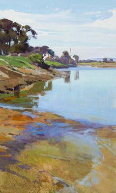 Marcia Burtt - Low Tide, Spring Goleta Beach, acrylic on panel, 30 x 18 inches