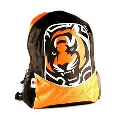 """Cincinnati Bengals Eclipse Series NFL Backpack by NFL. $19.99. Comes With Detachable Key-chain Clip. 2 Mesh Side Water Bottle Packets. Very Thick Padded Pack Panel. Measures 17"""" x 12"""" x 6"""". Multiple Zipper Enclosures. This Eclipse Series NFL Backpack Is Well Designed To Carry All Of Your School Supplies And More. Very Durable Design For Long Lasting Use."""