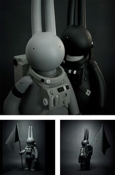 Astrolapin in Black or Grey ... rabbit - astronaut - toy - I just wish these weren't $175. :(