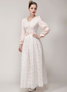 White Organza Embroidered Lace Maxi Dress with Nude Pink Sleeves and Lining