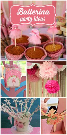 Pink tulle and tutus decorate this lovely ballerina girl birthday party!  See more party ideas at CatchMyParty.com!