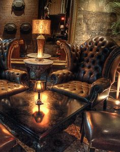 "Masculine Lounge....This is insanely amazing! I know the title has ""Cocktail Bar,"" but this is definitely where I would finalize each day and mentally regroup for each tomorrow.....this would so be my office or an attachment to bedroom ;)"