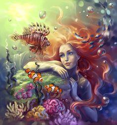 """light-of-fantasy: """" Mermaid by sharandula """" Fantasy Mermaids, Real Mermaids, Mermaids And Mermen, Mermaid Artwork, Mermaid Paintings, Art Paintings, Mermaid Illustration, Illustration Art, Mermaid Fairy"""
