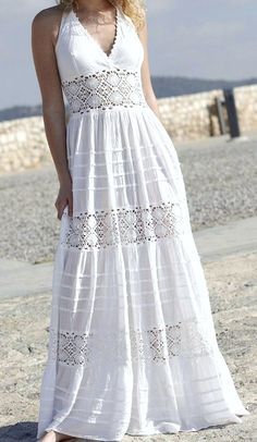White boho or chic clothing for the queen of summer beach. White Maxi Dresses, Casual Dresses, White Dress, Summer Dresses, Boho Wedding Dress, Boho Dress, Dress Skirt, Boho Fashion, Fashion Dresses