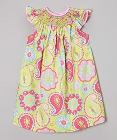 Look at this BeMine Pink Paisley Smocked Angel-Sleeve Dress - Infant, Toddler
