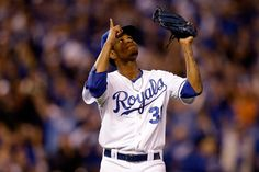 Yordano Ventura #30 of the Kansas City Royals reacts after getting out of the third inning against the San Francisco Giants during Game Six of the 2014 World Series at Kauffman Stadium on October 28, 2014 in Kansas City, Missouri. (Photo by Ezra Shaw/Getty Images) World Series - San Francisco Giants v Kansas City Royals - Game Six