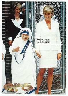 Princess Diana Postal Commemorative Sheet Issued By Togo (With Mother Teresa), Diana - Princess Of Wales 1961 - 1997.