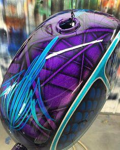 Epic Firetruck's Motor'sicle Paint ~ Custom Motorcycle Paint Jobs, Custom Paint Jobs, Custom Art, Paint Bike, Pinstripe Art, Bike Tattoos, Helmet Paint, Motorcycle Tank, Custom Helmets