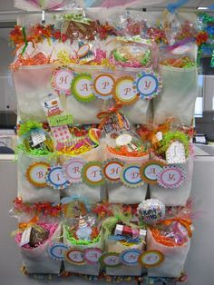 Shoe holder filled with candy or gifts. Im doing this for Marco's 7th bday party. :)