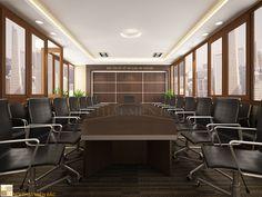 Nhà thầu nội thất Miền Bắc nhận tư vấn, thiết kế nội thất phòng họp cao cấp, sang trọng và chuyên nghiệp, tạo cảm giác thoải mái khi trao đổi công việc.