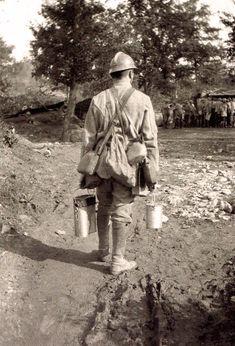 WW1, French Poilu with wine supplies