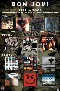 Bon Jovi-Album Covers, Music Poster Print, 24 by 80 Bands, Music Bands, Jon Bon Jovi, Great Bands, Cool Bands, Bon Jovi Album, Old Rock, 80s Music, 80s Songs