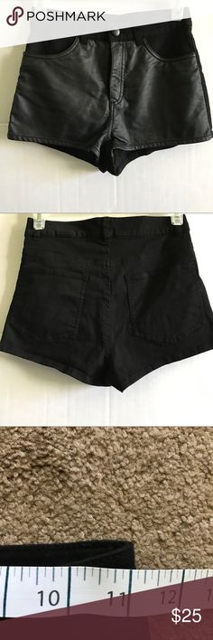 H&M Divided Black Faux Leather Shorts Size 4 H&M Divided Black Faux Leather Shorts Size 4 Waist: 11 in. Length: 9 in. Fabric: refer to picture  No Damages and Smoke Free Divided Shorts