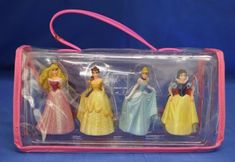 Aurora-Belle-Cinderella-Snow-White-Princess-Glitter-Dress-3-034-Figurine-4-Pc-Set