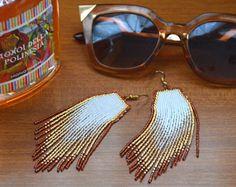 Cuentas pendientes, joyería artesanal, estilo étnico, flecos pendientes, pendientes, nativos americanos de la gota