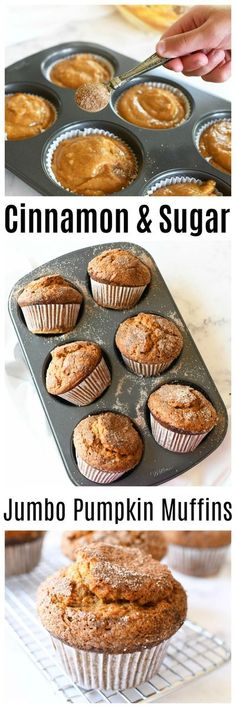 Jumbo Bakery Style Pumpkin Muffins- If you are looking to bake up 6 of the BEST-tasting, perfectly spiced, jumbo, bakery-style Pumpkin Muffins, you have come to the right post. This recipe makes the fluffiest, yummiest muffins you will ever try! They are moist, and feature a crisp cinnamon & sugar top. #pumpkinmuffins #jumbomuffins #jumbopumpkinmuffins #muffins #pumpkin #pumpkinspice via @sizzlingeats Donut Recipes, Muffin Recipes, Snack Recipes, Dessert Recipes, Loaf Recipes, Kitchen Recipes, Cookie Recipes, Breakfast Recipes, Vegan Recipes
