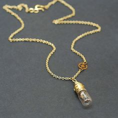 Light Bulb Necklace with Clock Gear- Brass Upcycled Steampunk Jewelry