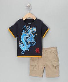 Look at this #zulilyfind! Blue Dragon Layered Tee & Cargo Shorts - Toddler by Little Rebels #zulilyfinds