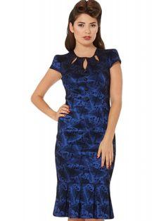 4ba6ec37a83 Voodoo Vixen Women s Correna - Art Deco Swan Flocked Pencil Dress 1950s  Fashion