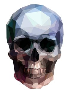 Visual trends double-exposure photos, low-poly images and zentangles - Digital Arts -- shape, form, colour, tone Low Poly, Double Exposure Photo, Polygon Art, Graphic Art, Graphic Design, Skull And Bones, Skull Art, Geometric Art, Digital Illustration