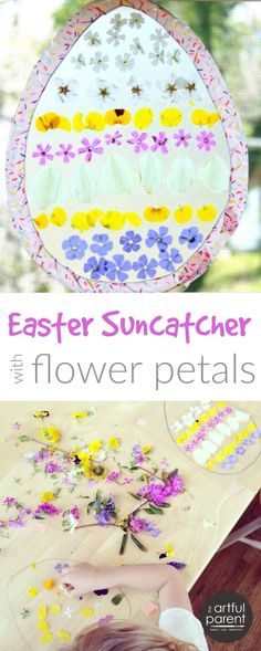 This Easter egg suncatcher craft for kids is a beautiful combination of two of our favorite spring suncatchers, using flower petals and contact paper.
