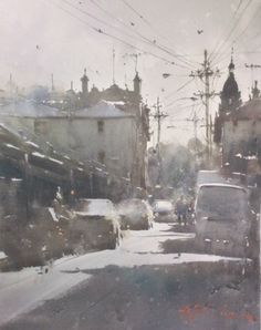 """Joseph Zbukvic, known worldwide as a Master Artist, is also known for his use of grays in his watercolor paintings: """"I'm asked endlessly what grey I … Watercolor Red, Watercolor Paintings, Joseph Zbukvic, Painting Snow, City Landscape, Make Color, Warm Grey, Winter Scenes, Warm Colors"""