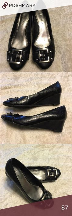 Black Wedge Dress Shoes These wedge shoes are great to wear with slacks to work! In great shape! Shoes Wedges