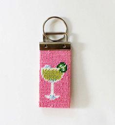 needlepoint key fob | Margarita Key Fob Needlepoint Kit with monogram option