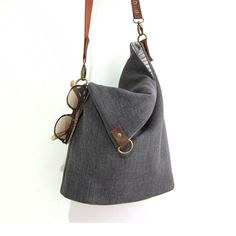 Foldover Bag. Women's handmade handbags. Linen leather bag by fabricAsians on etsy. Enjoy 10% OFF Coupon!