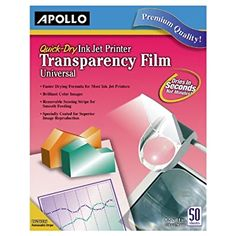 Apollo Quick Dry Universal Ink Jet Printer Film, 8.5 x 11 Inch Sheets, 50 Sheets per Box (VCG7033S)