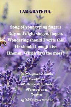"by #DrMargaretAranda: #Poem #Gratitude #Thanks: ""... Hmmm. Which says the most?"" DrAuthor / Selim Yeniçeri / Tereza  Hmmm..."