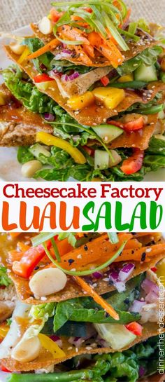 Cheesecake Factory Luau Salad with an Asian Balsamic Vinaigrette, crunchy wonton sheets, vegetables and macadamia nuts, this recipe is a perfect copycat! Cheesecake Factory Luau Salad copycat made its Cheese Cake Factory, Louisiana Chicken Pasta, The Cheesecake Factory, Jambalaya, Soup And Salad, Pasta Salad, Restaurant Recipes, Dinner Recipes, Love