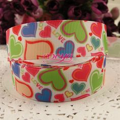 """Free shipping 50 yards 7/8""""(22MM) lovely Valentine printed grosgrain ribbon printed grosgrain for hair bows accessory-in Ribbons from Apparel  Accessories on Aliexpress.com $20.00"""