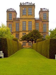 """Hardwick Hall. Derbyshire, England. Bess Hardwick survived 3 husbands, marrying up each time. It was said at the time this was """"more glass than wall"""", since the windows were very large for that era."""