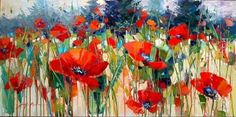 Poppies let loose- Jennifer Bowman Easy Flower Painting, Drip Painting, Flower Art, Art Floral, Watercolor Flowers, Watercolor Paintings, Acrylic Paintings, Art Paintings, Landscape Art