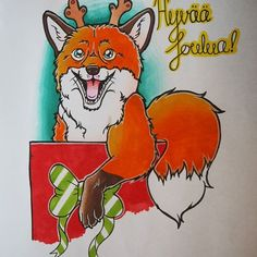 Cute Christmas fox card created by @taijanyholm with their Chameleonm Pens.  #fox #foxdrawing #animaldrawing #drawing #christmas #christmascard #chameleonpens #sketchbook #sketch #markers