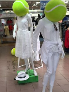 Unusual tennis ball activity in Debenhams in Wimbledon this fortnight. Read more on the all-white trend in my blog:https://aftercarrie.wordpress.com/2017/07/06/all-white-now/