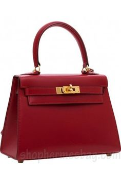 Hermes Rouge Vif Ostrich Mini Kelly Pochette Gold Hardware
