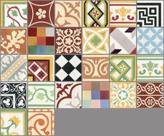 Carreaux de ciment - Les patchworks - Carreau PW 26 - Couleurs
