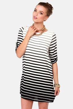Cute Black and White Dress - Striped Dress - Shift Dress - $49.00  @Lulus.com