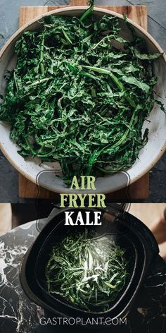 Air Fryer Kale is light, airy and crispy yet loaded with nutrition. It has a really fun texture that goes well as a topping on practically any savory dish. Top it on a salad, add it to your Buddha bowl, or even put it in a sandwich. Vegan Appetizers, Appetizer Recipes, Snack Recipes, Cooking Recipes, Dinner Recipes, Potluck Recipes, Veggie Side Dishes, Healthy Side Dishes, Healthy Food