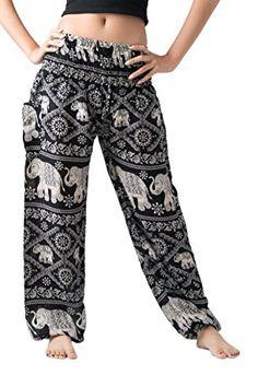 9675bc73e Bangkokpants Women s Casual Pants Harem Bohemian Clothes Hippie Boho Yoga  Outfits Smocked Waist (Black