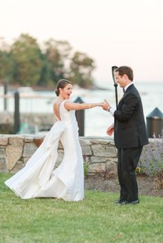 Bride & Groom at Sunset Waterfront Wedding Photo by Jessica Haley