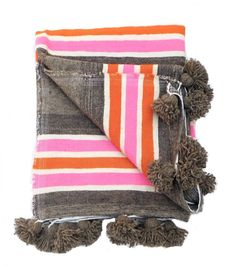 Moroccan Wool  Pom Pom Blanketol  Pom Pom Blanket - product images  of