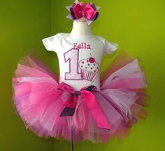 Hot Pink n Lavender Lil Cupcake Number Birthday Tutu Outfit